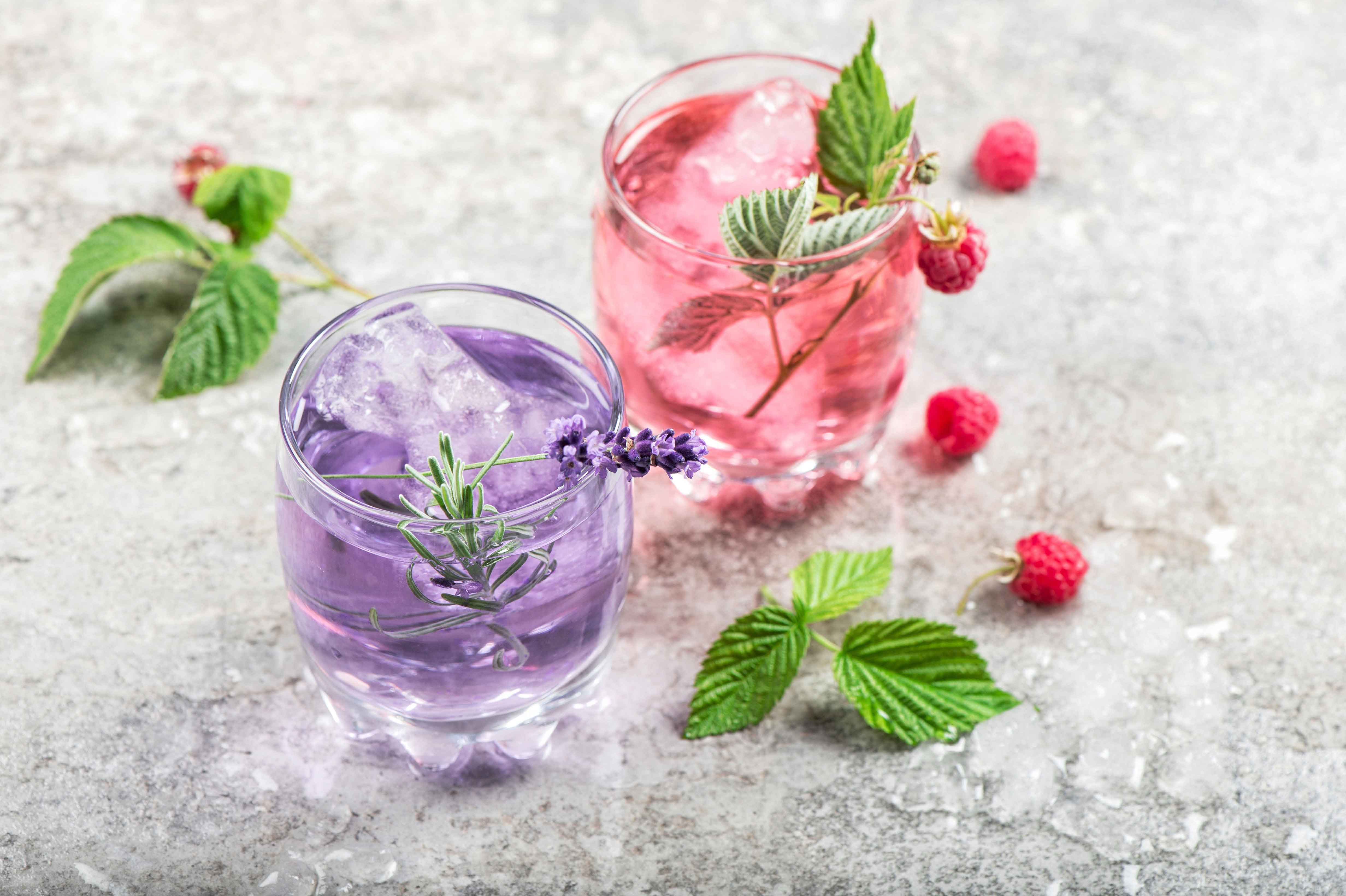 Drink with Lavender and Raspberries